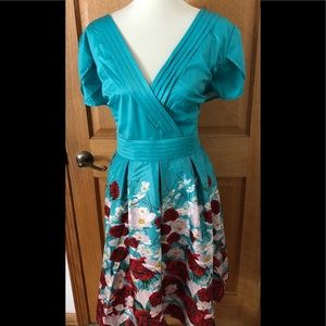 Lindy Bop Donna Teal Blossom Print Tea Dress 18
